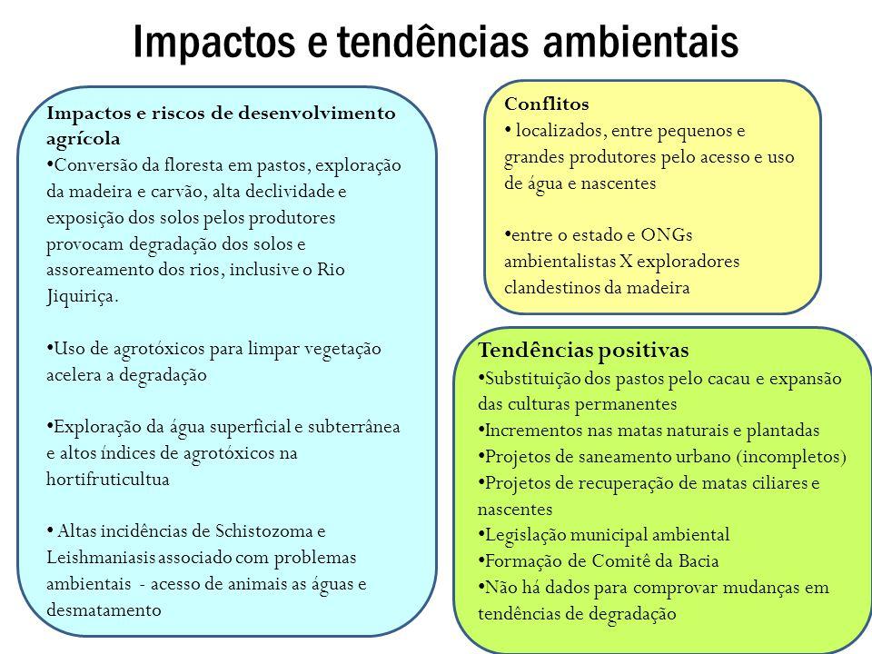 Impactos e tendências ambientais Conflitos localizados, entre pequenos e grandes produtores pelo acesso e uso de água e nascentes entre o estado e ONG
