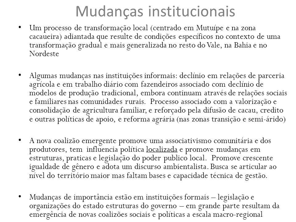 Mudanças institucionais Um processo de transformação local (centrado em Mutuípe e na zona cacaueira) adiantada que resulte de condições específicos no