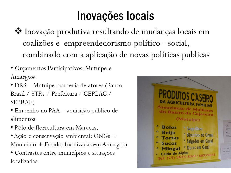 Inovações locais Inovação produtiva resultando de mudanças locais em coalizões e empreendedorismo político - social, combinado com a aplicação de nova