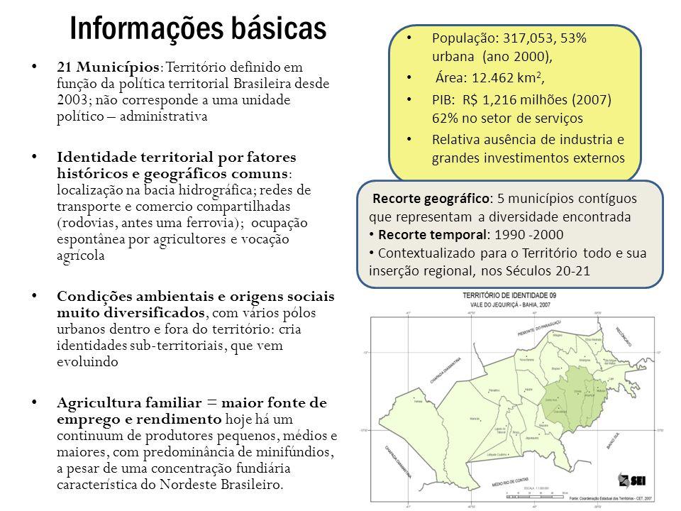 Uso da terra Vale do JiquiriÇá 2006 Receitas obtidas Pecuária domina uso da terra mas contribui pouco ao valor e emprego 1996 -2007: Mudanças positivas nos impactos ambientais e sociais da agricultura: incremento das lavouras permanentes e temporárias - ainda incipiente e localizado tendência de pastagens ser substituídas por cacau na zona da mata no geral declínio em pastos (17.4%) e no numero de bovinos; aumento de matas e florestas plantadas (35.4%) Há muito espaço para expansão das culturas permanentes e recuperação das matas, embora constrangido pela estrutura fundiária e os incentivos aos produtores Agroindústrias: processamento de mandioca; outras (frutas) - aumentando em pequena escala