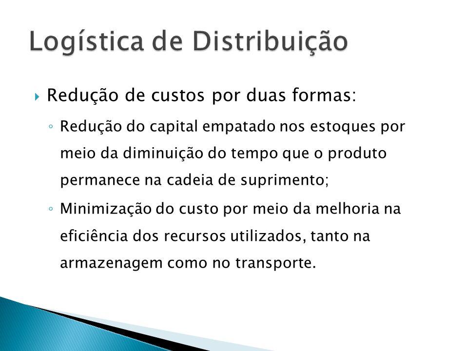 Redução de custos por duas formas: Redução do capital empatado nos estoques por meio da diminuição do tempo que o produto permanece na cadeia de suprimento; Minimização do custo por meio da melhoria na eficiência dos recursos utilizados, tanto na armazenagem como no transporte.