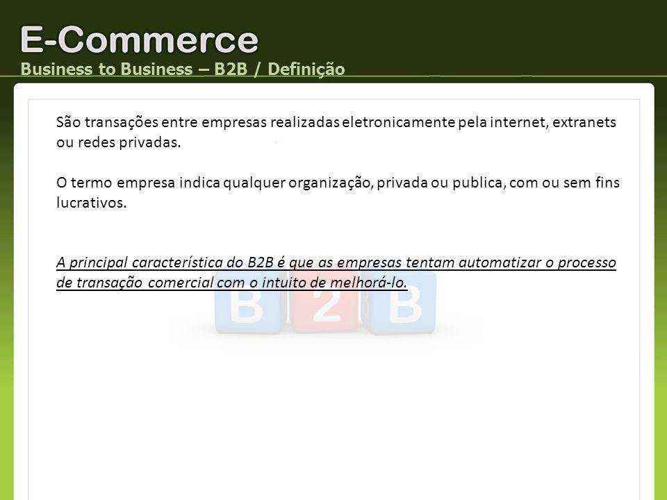 Business to Business – B2B / Exercício Em grupo de 4 pessoas, pesquise (na Internet) e apresente um caso de B2B brasileiro para cada tipo de modelo de negócio.