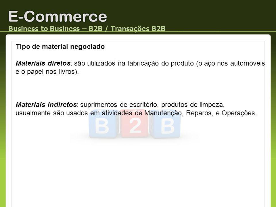 Business to Business – B2B / Transações B2B Tipo de material negociado Materiais diretos: são utilizados na fabricação do produto (o aço nos automóvei