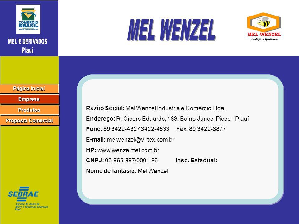 Página Inicial Página Inicial Página Inicial Página Inicial Empresa Produtos Proposta Comercial Proposta Comercial Proposta Comercial Proposta Comercial Razão Social: Mel Wenzel Indústria e Comércio Ltda.