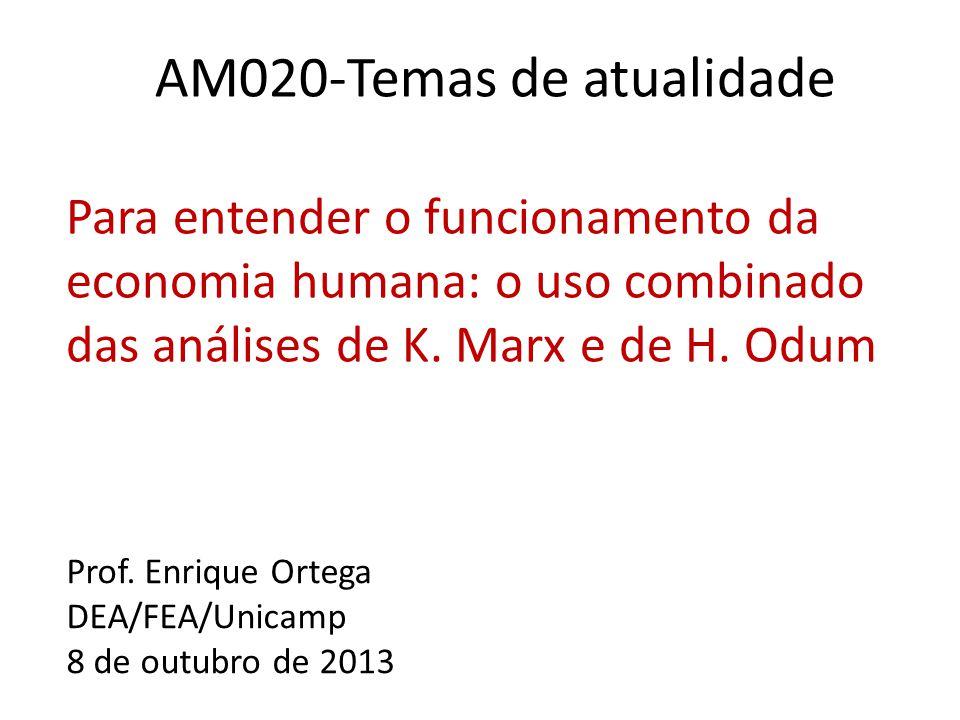 AM020-Temas de atualidade Para entender o funcionamento da economia humana: o uso combinado das análises de K.