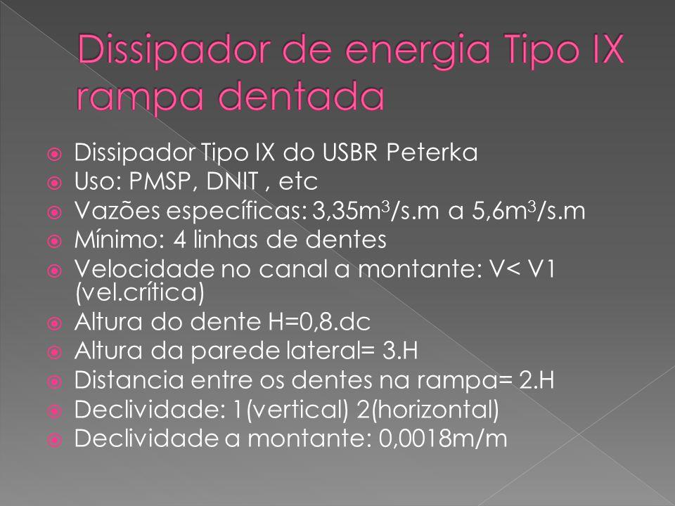 Dissipador Tipo IX do USBR Peterka Uso: PMSP, DNIT, etc Vazões específicas: 3,35m 3 /s.m a 5,6m 3 /s.m Mínimo: 4 linhas de dentes Velocidade no canal a montante: V< V1 (vel.crítica) Altura do dente H=0,8.dc Altura da parede lateral= 3.H Distancia entre os dentes na rampa= 2.H Declividade: 1(vertical) 2(horizontal) Declividade a montante: 0,0018m/m