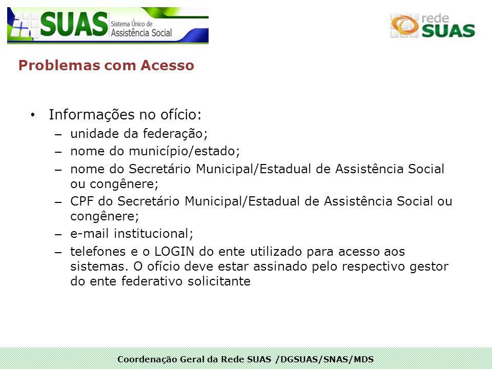Coordenação Geral da Rede SUAS /DGSUAS/SNAS/MDS Informações no ofício: – unidade da federação; – nome do município/estado; – nome do Secretário Munici
