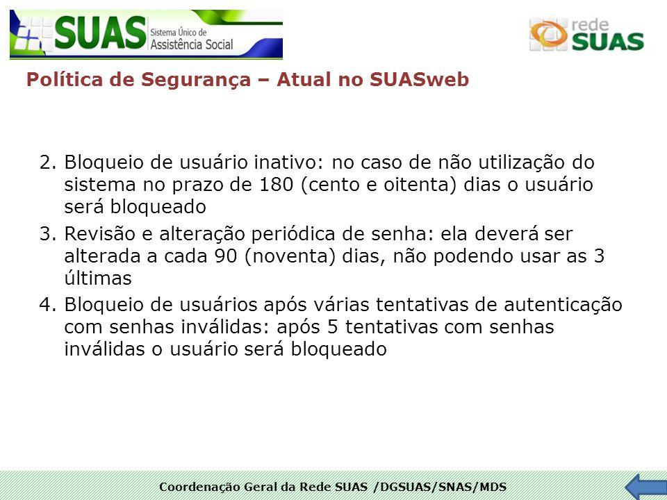 Coordenação Geral da Rede SUAS /DGSUAS/SNAS/MDS 2. Bloqueio de usuário inativo: no caso de não utilização do sistema no prazo de 180 (cento e oitenta)
