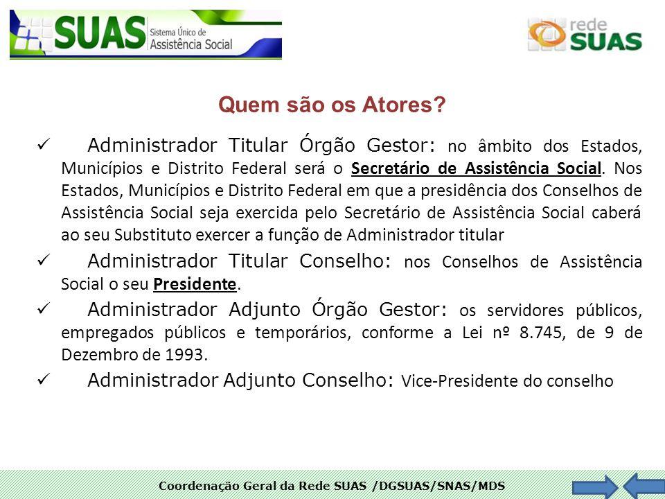 Coordenação Geral da Rede SUAS /DGSUAS/SNAS/MDS Quem são os Atores? Administrador Titular Órgão Gestor: no âmbito dos Estados, Municípios e Distrito F