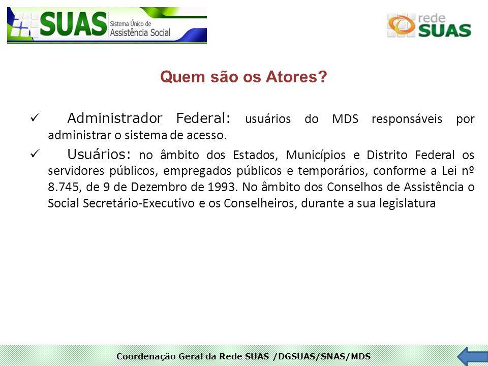 Coordenação Geral da Rede SUAS /DGSUAS/SNAS/MDS Quem são os Atores? Administrador Federal: usuários do MDS responsáveis por administrar o sistema de a