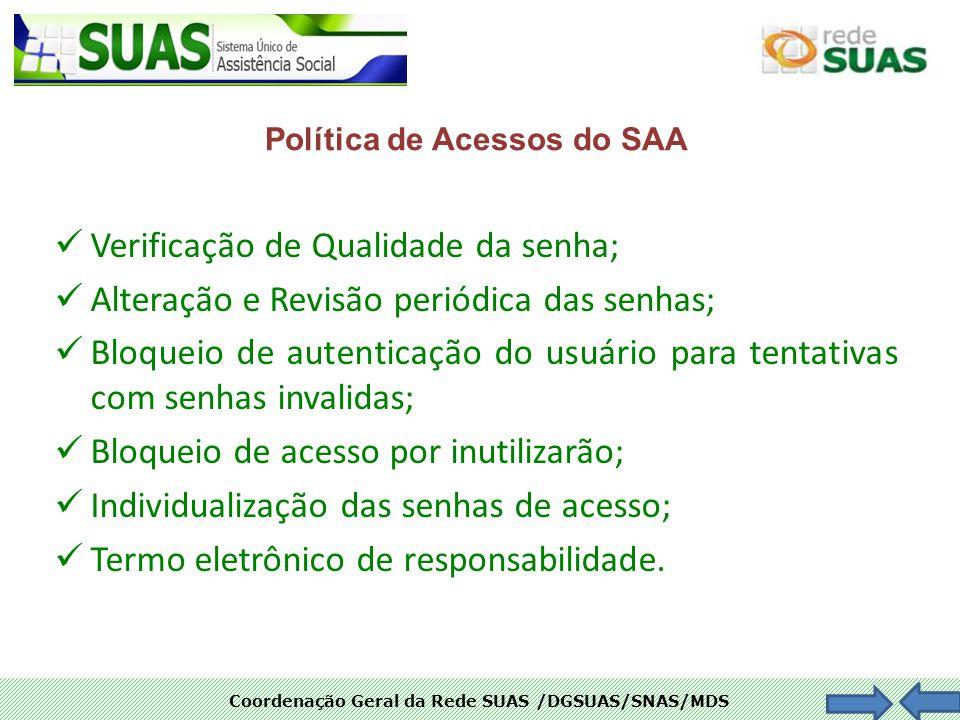 Coordenação Geral da Rede SUAS /DGSUAS/SNAS/MDS Verificação de Qualidade da senha; Alteração e Revisão periódica das senhas; Bloqueio de autenticação