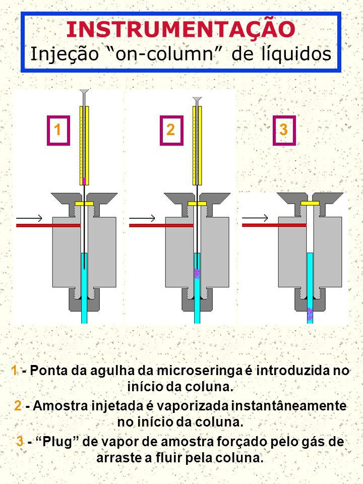 INSTRUMENTAÇÃO Injeção on-column de líquidos 1 2 3 1 - Ponta da agulha da microseringa é introduzida no início da coluna. 2 - Amostra injetada é vapor