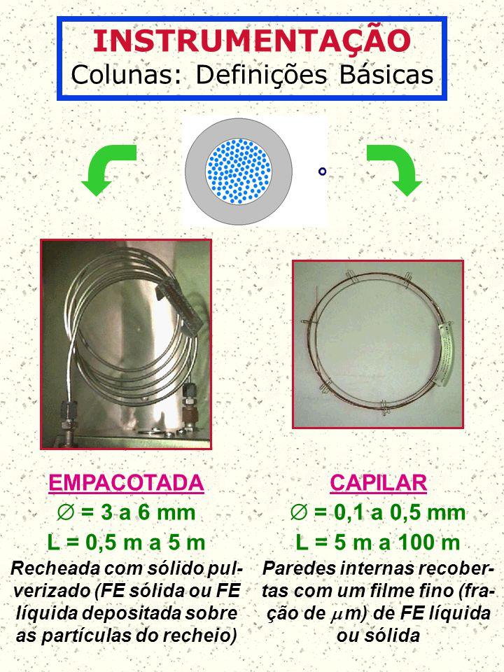 INSTRUMENTAÇÃO Colunas: Definições Básicas EMPACOTADA = 3 a 6 mm L = 0,5 m a 5 m Recheada com sólido pul- verizado (FE sólida ou FE líquida depositada