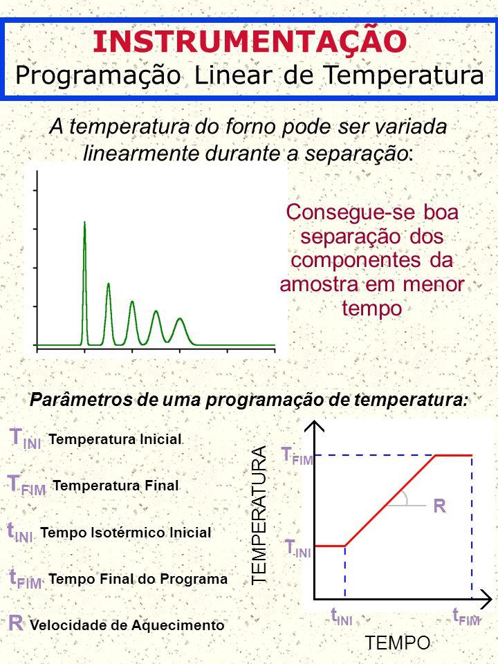 INSTRUMENTAÇÃO Programação Linear de Temperatura A temperatura do forno pode ser variada linearmente durante a separação: Consegue-se boa separação do