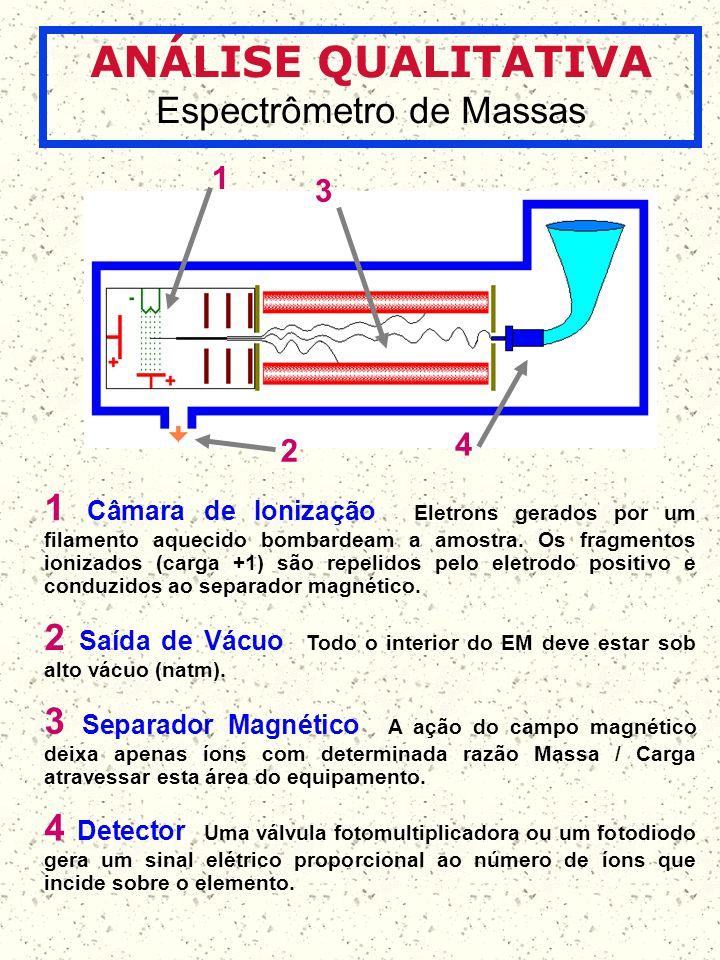 ANÁLISE QUALITATIVA Espectrômetro de Massas 1 2 3 4 1 Câmara de Ionização Eletrons gerados por um filamento aquecido bombardeam a amostra. Os fragment