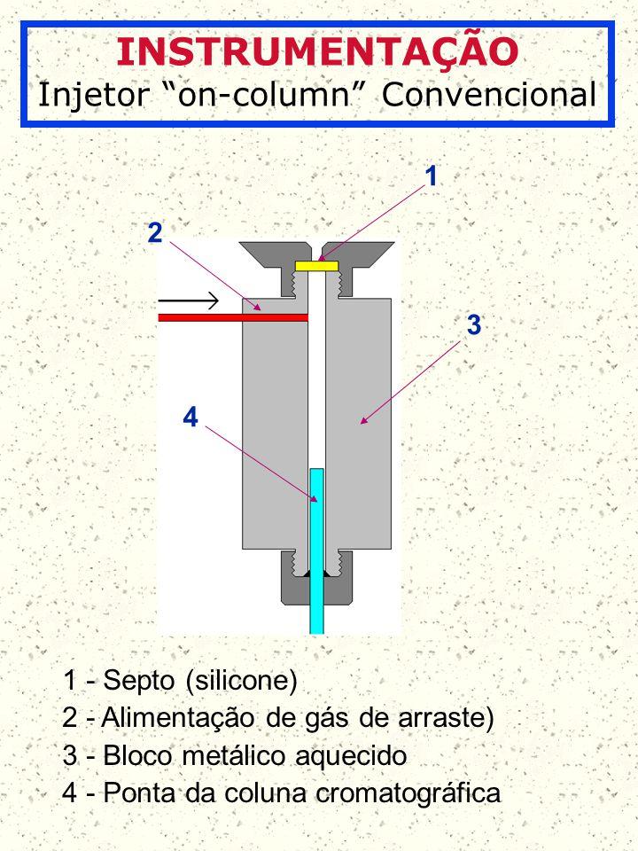 INSTRUMENTAÇÃO Injeção on-column de líquidos 1 2 3 1 - Ponta da agulha da microseringa é introduzida no início da coluna.