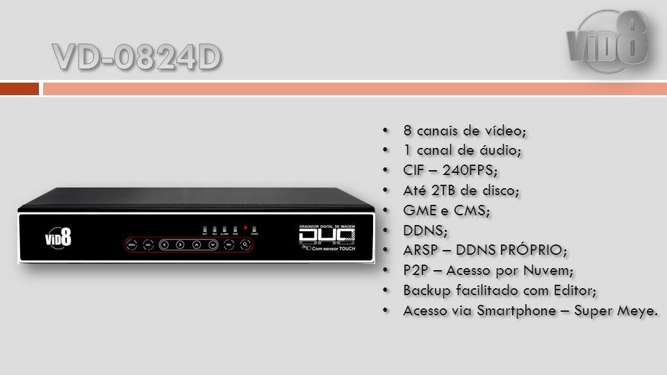 8 canais de vídeo; 1 canal de áudio; CIF – 240FPS; Até 2TB de disco; GME e CMS; DDNS; ARSP – DDNS PRÓPRIO; P2P – Acesso por Nuvem; Backup facilitado com Editor; Acesso via Smartphone – Super Meye.