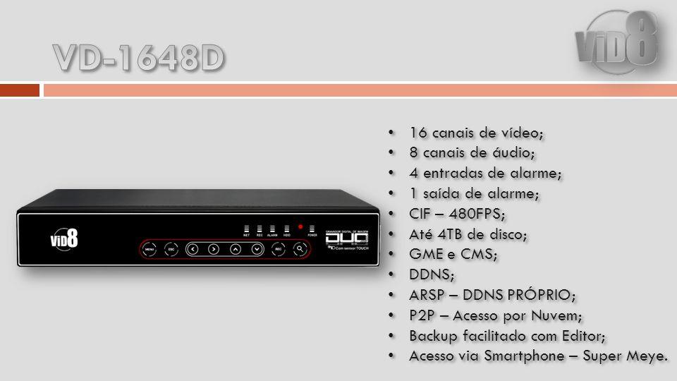 16 canais de vídeo; 8 canais de áudio; 4 entradas de alarme; 1 saída de alarme; CIF – 480FPS; Até 4TB de disco; GME e CMS; DDNS; ARSP – DDNS PRÓPRIO; P2P – Acesso por Nuvem; Backup facilitado com Editor; Acesso via Smartphone – Super Meye.