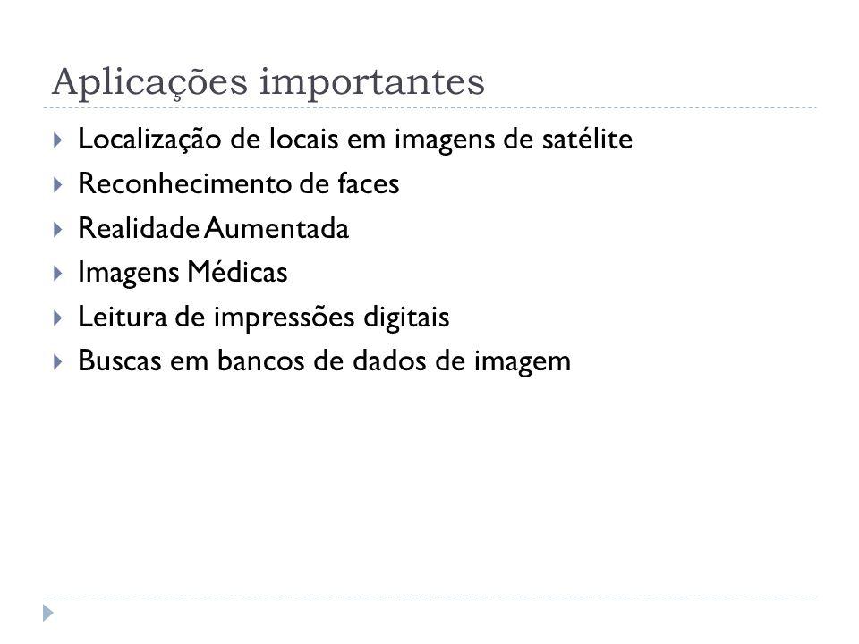 Aplicações importantes Localização de locais em imagens de satélite Reconhecimento de faces Realidade Aumentada Imagens Médicas Leitura de impressões