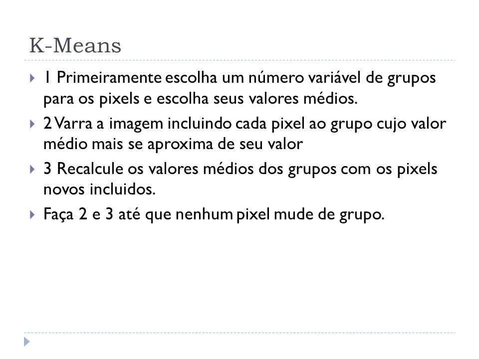 K-Means 1 Primeiramente escolha um número variável de grupos para os pixels e escolha seus valores médios. 2 Varra a imagem incluindo cada pixel ao gr