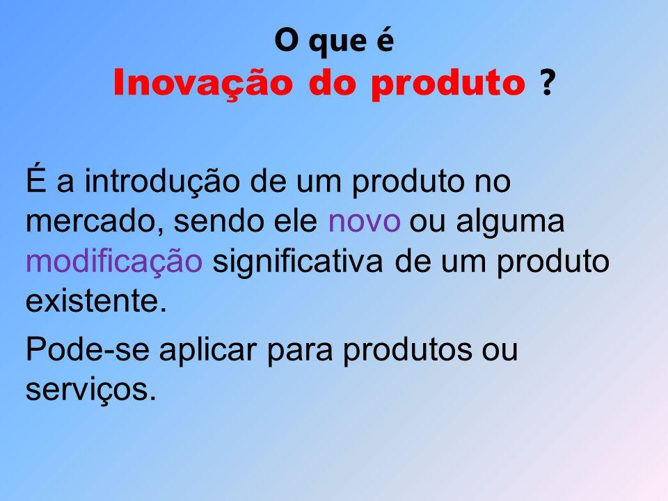O que é Inovação do produto ? É a introdução de um produto no mercado, sendo ele novo ou alguma modificação significativa de um produto existente. Pod