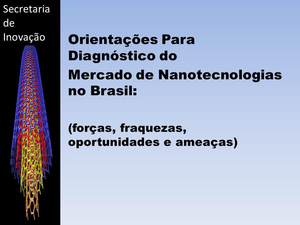 Secretaria de Inovação Orientações Para Diagnóstico do Mercado de Nanotecnologias no Brasil: (forças, fraquezas, oportunidades e ameaças)