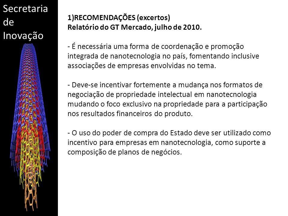 Secretaria de Inovação 1)RECOMENDAÇÕES (excertos) Relatório do GT Mercado, julho de 2010. - É necessária uma forma de coordenação e promoção integrada