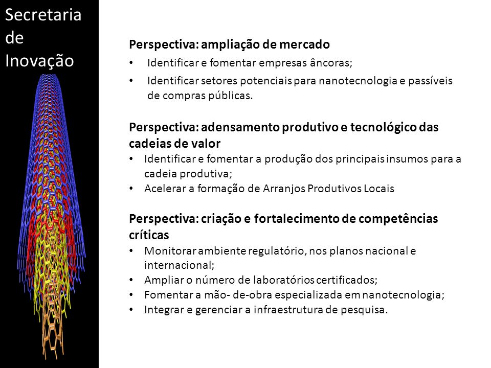 Secretaria de Inovação Perspectiva: ampliação de mercado Identificar e fomentar empresas âncoras; Identificar setores potenciais para nanotecnologia e passíveis de compras públicas.