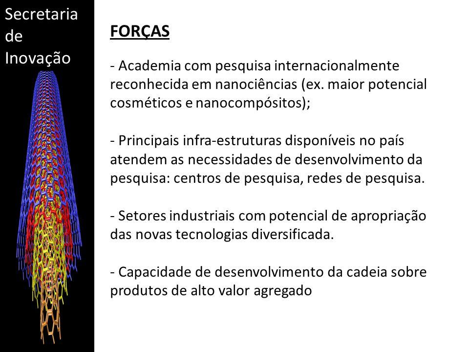 Secretaria de Inovação FORÇAS - Academia com pesquisa internacionalmente reconhecida em nanociências (ex. maior potencial cosméticos e nanocompósitos)