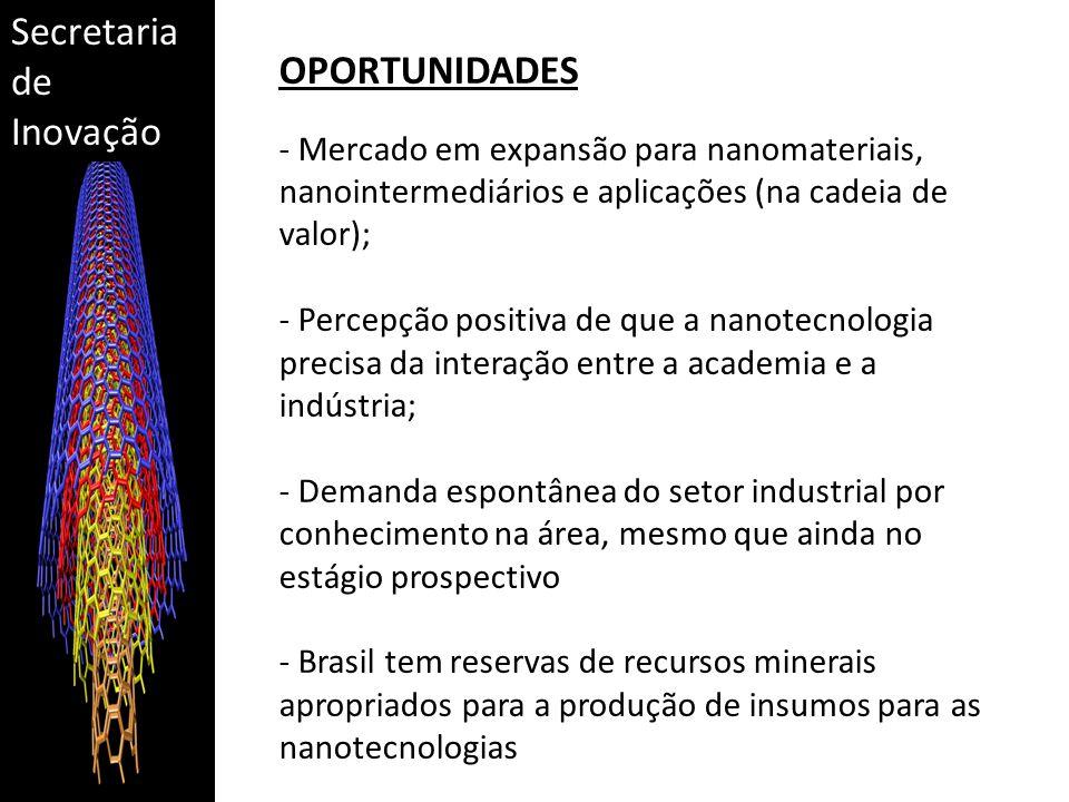 Secretaria de Inovação OPORTUNIDADES - Mercado em expansão para nanomateriais, nanointermediários e aplicações (na cadeia de valor); - Percepção positiva de que a nanotecnologia precisa da interação entre a academia e a indústria; - Demanda espontânea do setor industrial por conhecimento na área, mesmo que ainda no estágio prospectivo - Brasil tem reservas de recursos minerais apropriados para a produção de insumos para as nanotecnologias