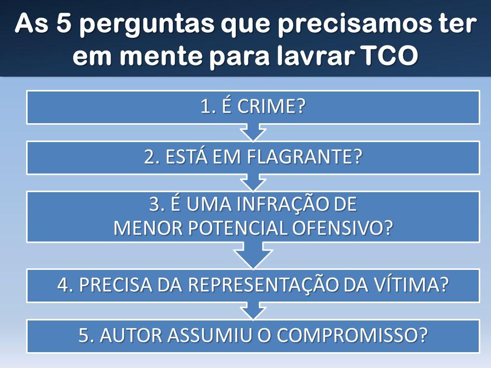 As 5 perguntas que precisamos ter em mente para lavrar TCO 5. AUTOR ASSUMIU O COMPROMISSO? 4. PRECISA DA REPRESENTAÇÃO DA VÍTIMA? 3. É UMA INFRAÇÃO DE