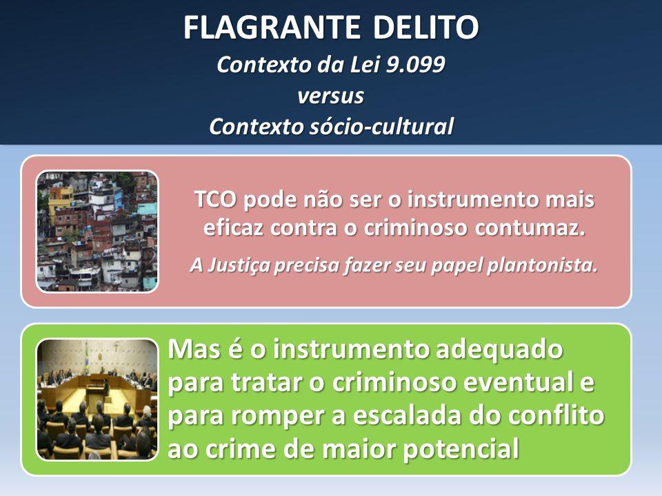 FLAGRANTE DELITO Contexto da Lei 9.099 versus Contexto sócio-cultural FLAGRANTE DELITO Contexto da Lei 9.099 versus Contexto sócio-cultural TCO pode n