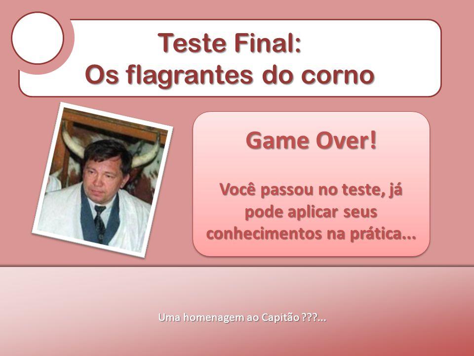 Teste Final: Os flagrantes do corno Uma homenagem ao Capitão ???... Game Over! Você passou no teste, já pode aplicar seus conhecimentos na prática...