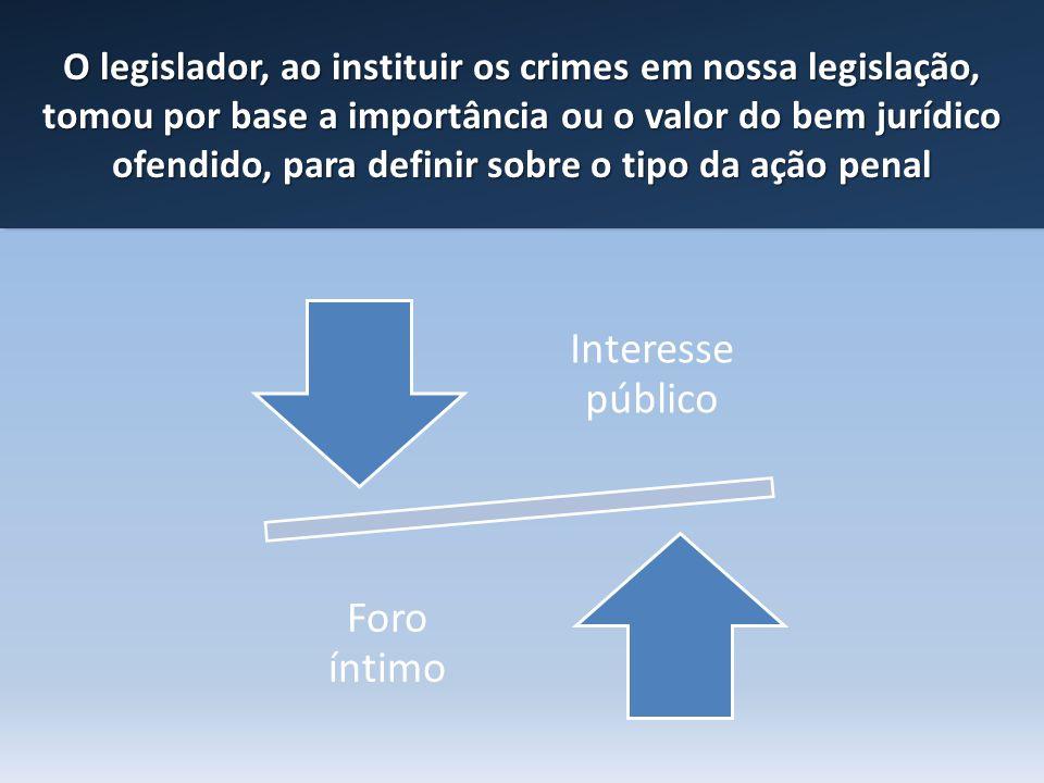 O legislador, ao instituir os crimes em nossa legislação, tomou por base a importância ou o valor do bem jurídico ofendido, para definir sobre o tipo