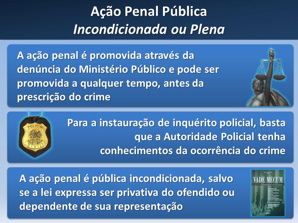 Ação Penal Pública Incondicionada ou Plena A ação penal é promovida através da denúncia do Ministério Público e pode ser promovida a qualquer tempo, a