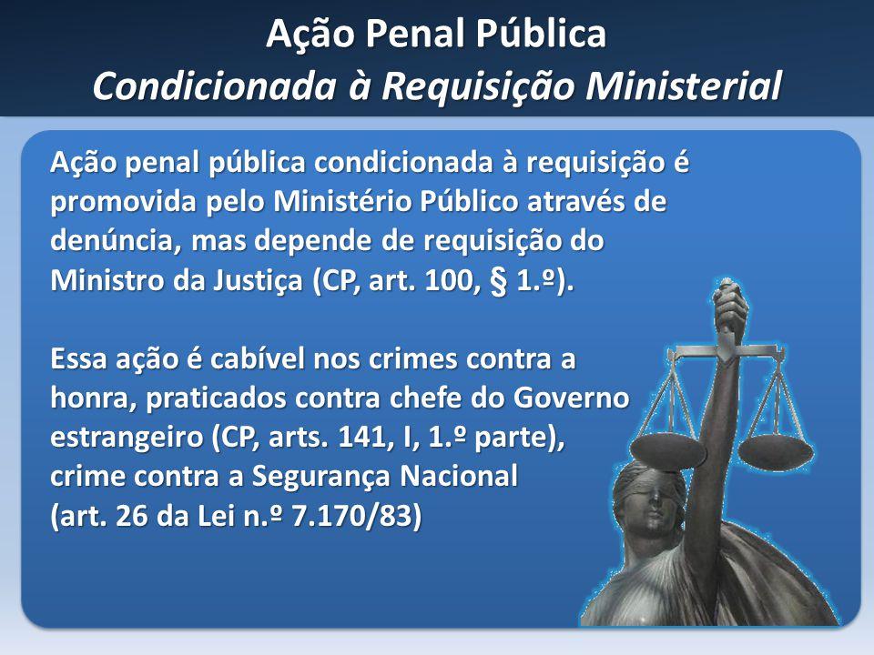 Ação Penal Pública Condicionada à Requisição Ministerial Ação penal pública condicionada à requisição é promovida pelo Ministério Público através de d
