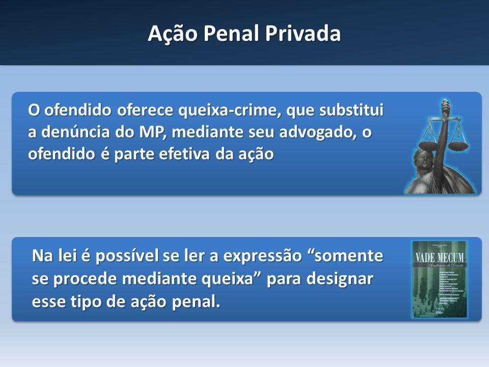 Ação Penal Privada O ofendido oferece queixa-crime, que substitui a denúncia do MP, mediante seu advogado, o ofendido é parte efetiva da ação Na lei é