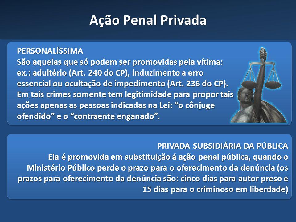 Ação Penal Privada PERSONALÍSSIMA São aquelas que só podem ser promovidas pela vítima: ex.: adultério (Art. 240 do CP), induzimento a erro essencial o