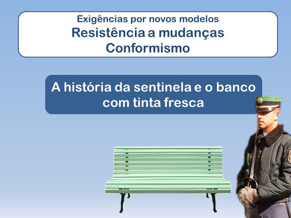 Exigências por novos modelos Resistência a mudanças Conformismo A história da sentinela e o banco com tinta fresca