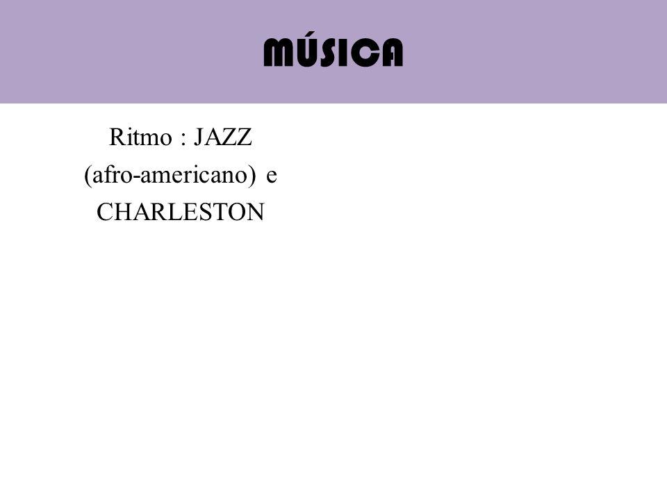 MÚSICA Ritmo : JAZZ (afro-americano) e CHARLESTON