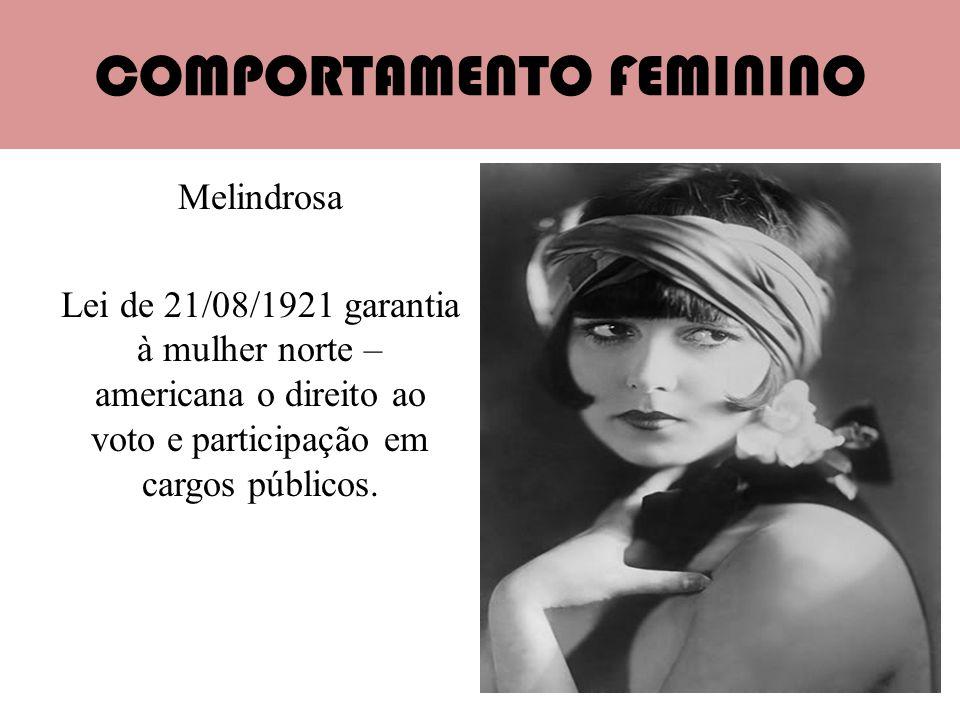COMPORTAMENTO FEMININO Melindrosa Lei de 21/08/1921 garantia à mulher norte – americana o direito ao voto e participação em cargos públicos.