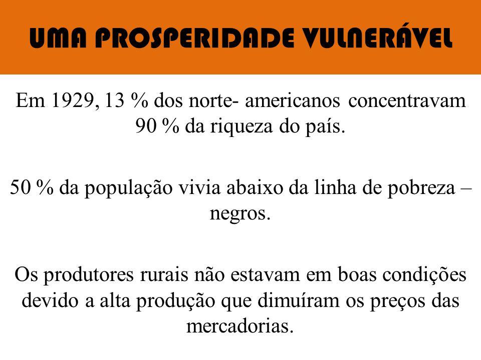 UMA PROSPERIDADE VULNERÁVEL Em 1929, 13 % dos norte- americanos concentravam 90 % da riqueza do país. 50 % da população vivia abaixo da linha de pobre