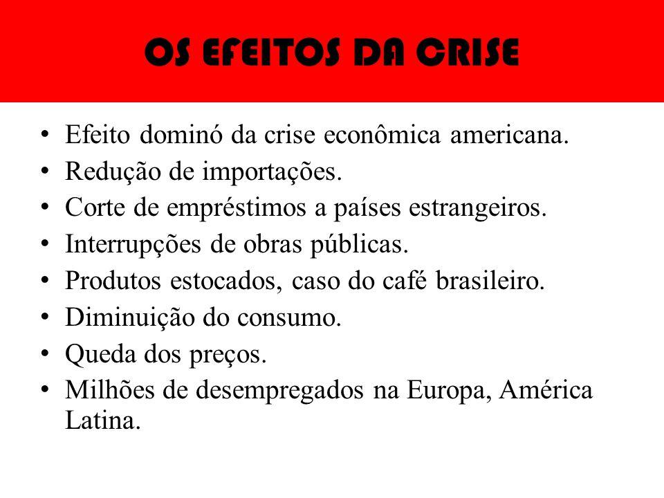 OS EFEITOS DA CRISE Efeito dominó da crise econômica americana. Redução de importações. Corte de empréstimos a países estrangeiros. Interrupções de ob