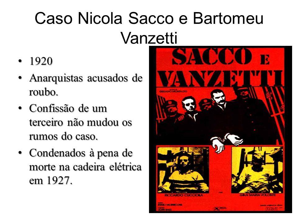 Caso Nicola Sacco e Bartomeu Vanzetti 19201920 Anarquistas acusados de roubo.Anarquistas acusados de roubo. Confissão de um terceiro não mudou os rumo