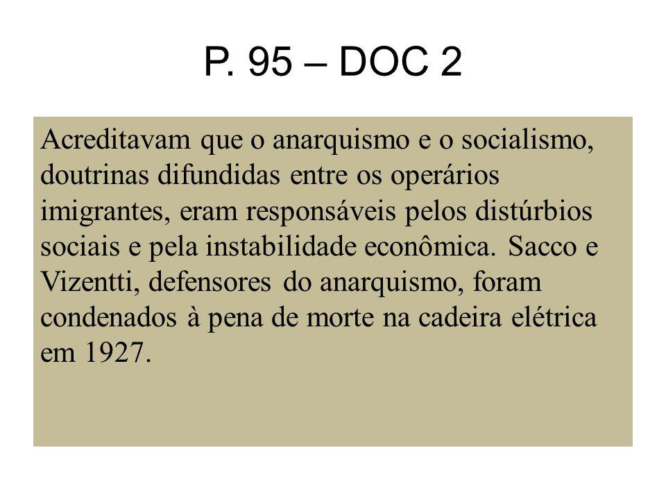 P. 95 – DOC 2 Acreditavam que o anarquismo e o socialismo, doutrinas difundidas entre os operários imigrantes, eram responsáveis pelos distúrbios soci