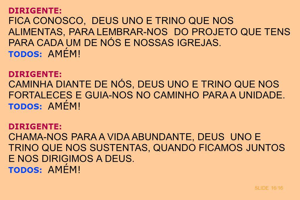 SLIDE 16/16 DIRIGENTE: FICA CONOSCO, DEUS UNO E TRINO QUE NOS ALIMENTAS, PARA LEMBRAR-NOS DO PROJETO QUE TENS PARA CADA UM DE NÓS E NOSSAS IGREJAS. TO