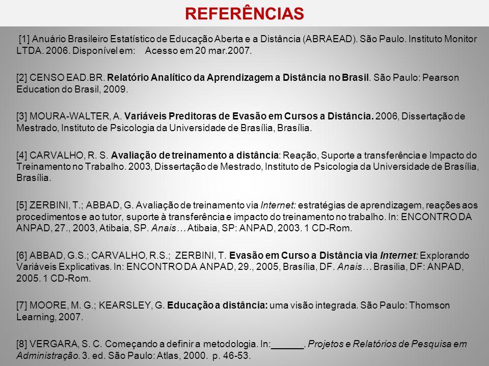 REFERÊNCIAS http://www.unb.br/face/ppga/arquivos/dissertacoes/Evasao_em_Cursos_a_Distancia.pdf http://www.unb.br/face/ppga/arquivos/dissertacoes/Evasao_em_Cursos_a_Distancia.pdf [9] ALMEIDA, O.C.S.