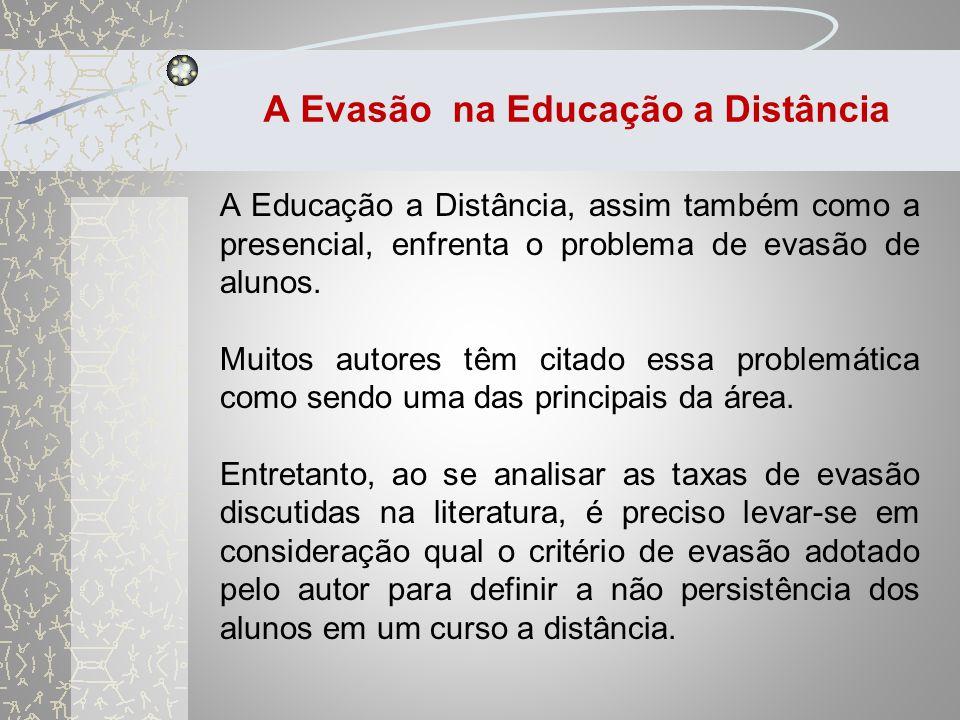 A Evasão na Educação a Distância O estudo da evasão apresenta uma dificuldade metodológica por se tratar de um fenômeno provocado por um acúmulo de causas.