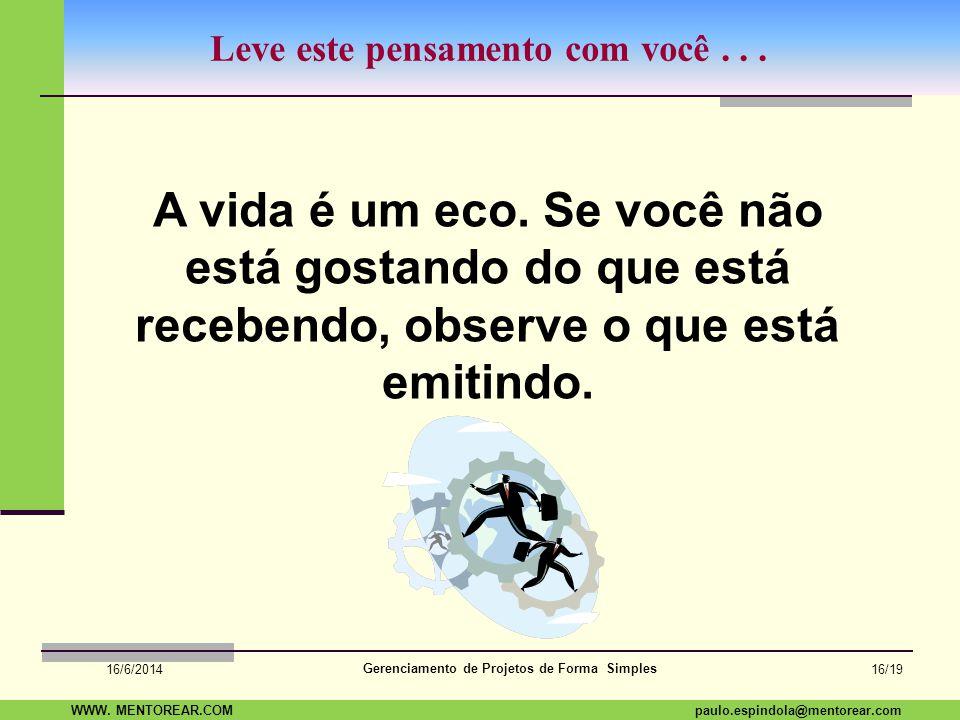 SAP Paulo Espindola 19 11 1960 paulo.espindola@mentorear.comWWW. MENTOREAR.COM Gerenciamento de Projetos de Forma Simples 16/6/2014 15/19 Dúvidas