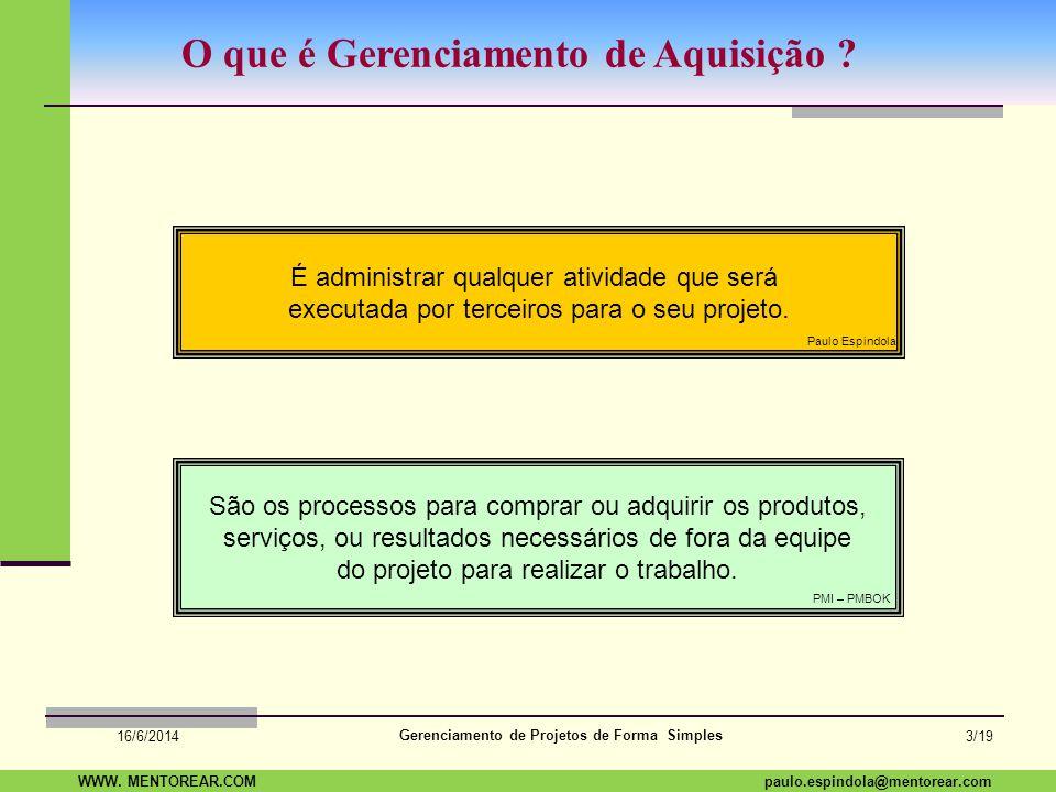SAP Paulo Espindola 19 11 1960 paulo.espindola@mentorear.comWWW. MENTOREAR.COM Gerenciamento de Projetos de Forma Simples 16/6/2014 2/19 Leve este pen